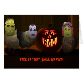 Trick or Treat Chickens Greeting Card
