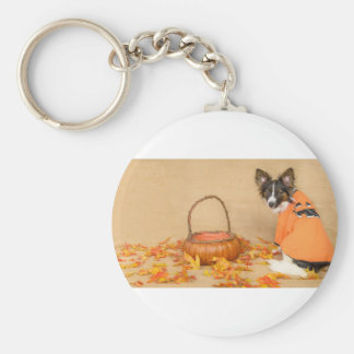 Trick or Treat Chihuahua Dog Basic Round Button Key Ring