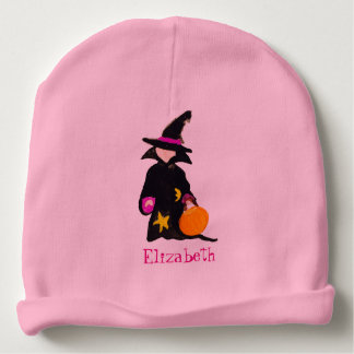 Trick or Treat Custom Name Halloween Toddler Witch Baby Beanie