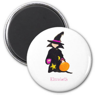 Trick or Treat Custom Name Halloween Toddler Witch 6 Cm Round Magnet