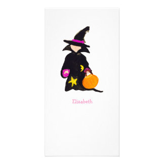 Trick or Treat Custom Name Halloween Toddler Witch Customised Photo Card