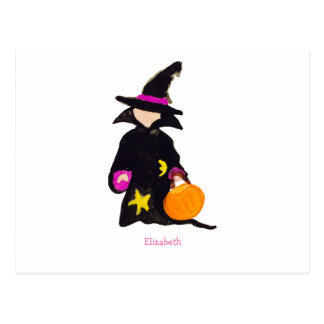 Trick or Treat Custom Name Halloween Toddler Witch Postcard