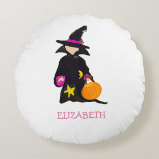 Trick or Treat Custom Name Halloween Toddler Witch Round Cushion