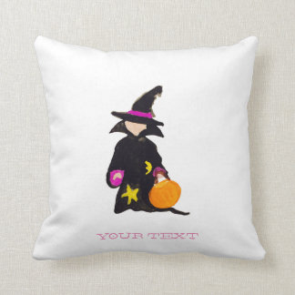 Trick or Treat Custom Name Halloween Toddler Witch Throw Cushions