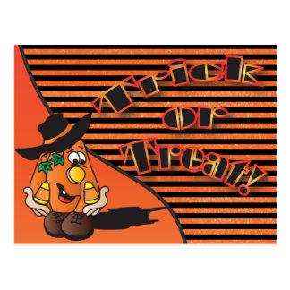 Trick or Treat Cute Cartoon Pumpkin Postcard