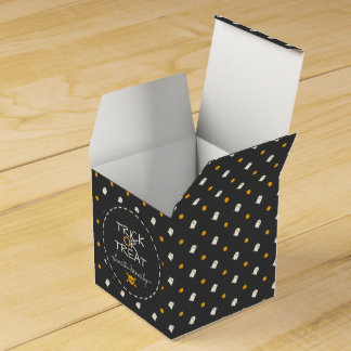 Trick or Treat. Cute Ghost Pumpkin Polka Dots. Favour Box