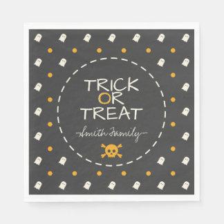 Trick or Treat. Cute Ghost Pumpkin Polka Dots. Paper Napkin