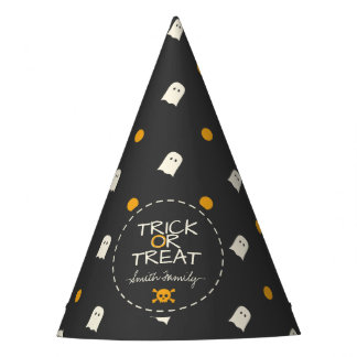 Trick or Treat. Cute Ghost Pumpkin Polka Dots. Party Hat