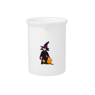 Trick or Treat Cute Halloween Toddler Witch Beverage Pitcher