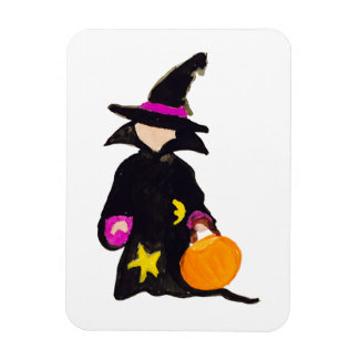 Trick or Treat Cute Halloween Toddler Witch Rectangular Photo Magnet