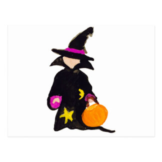 Trick or Treat Cute Halloween Toddler Witch Postcard