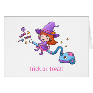 Trick or Treat Cute Little Witch on Vacuum Cleaner Card