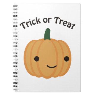 Trick or treat - Cute Pumpkin Spiral Note Books