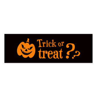 Trick or treat evil pumpkin Halloween Business Card Templates