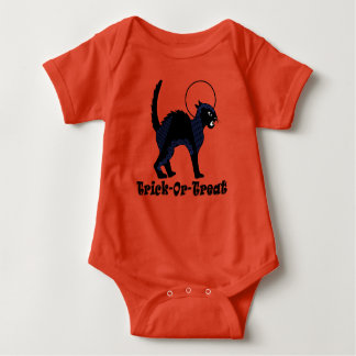 Trick-Or-Treat Exotic Black Cat & Moon Baby Bodysuit