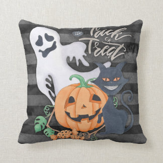 Trick or treat ghost carved pumpkin black cat cushion