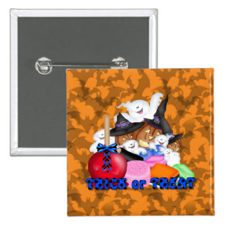 Trick or Treat Ghost & Pumpkins Button