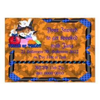 Trick or Treat Ghost & Pumpkins Invitation