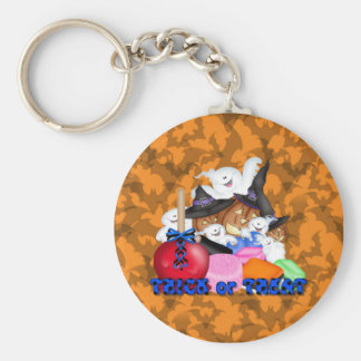 Trick or Treat Ghost & Pumpkins Keychain