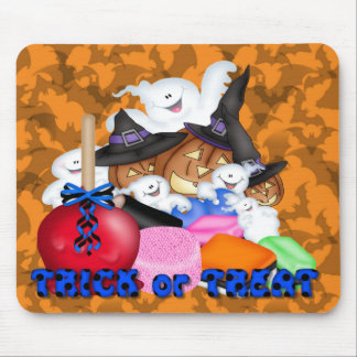 Trick or Treat Ghost & Pumpkins Mouse Pad