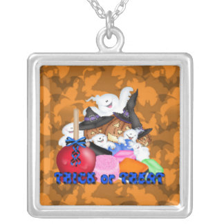 Trick or Treat Ghost & Pumpkins Necklace