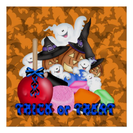 Trick or Treat Ghost & Pumpkins Poster