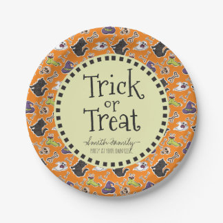 Trick or Treat. Ghosts Bones Cats and Skulls. Paper Plate