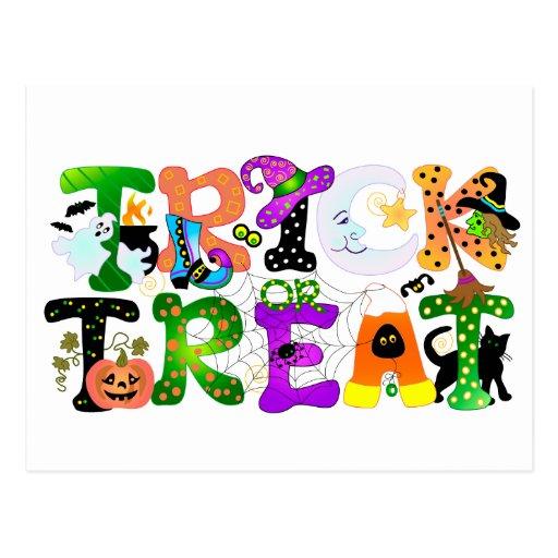 Trick or Treat Greeting Postcard