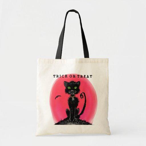 Trick or Treat Halloween Black Cat Tote Bag