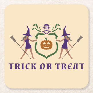 Trick or Treat Halloween Blazon Square Paper Coaster