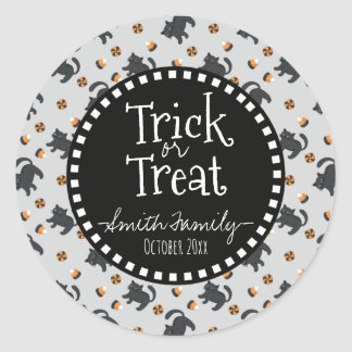 Trick Or Treat. Halloween Candies and Black Cats. Classic Round Sticker