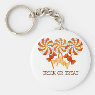 TRICK OR TREAT HALLOWEEN CANDY FUN PRINT BASIC ROUND BUTTON KEY RING