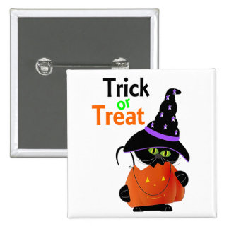 Trick Or Treat Halloween Cat With Pumpkin Pins