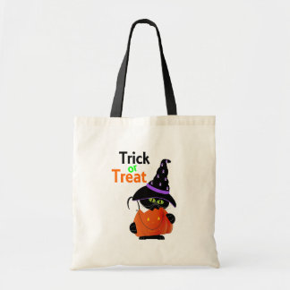 Trick Or Treat Halloween Cat With Pumpkin Budget Tote Bag