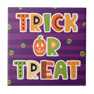 Trick or Treat Halloween Ceramic Tile