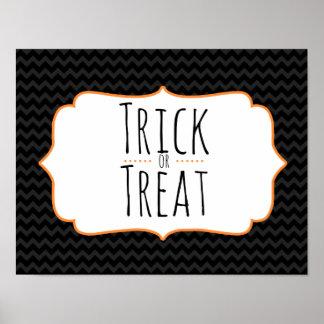 Trick or Treat Halloween Chevron Poster
