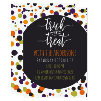Trick or Treat Halloween Custom Party Invitations