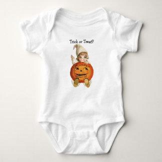Trick or Treat Halloween Cute Baby with Pumpkin Shirt