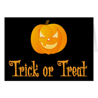 Trick Or Treat Halloween Greeting Card Pumpkin