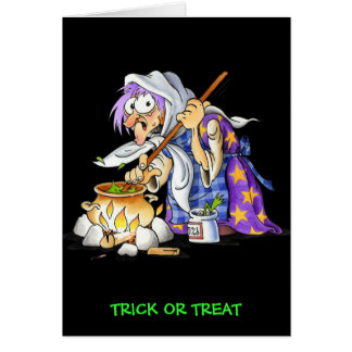 Trick Or Treat Halloween Greeting Card With Witch