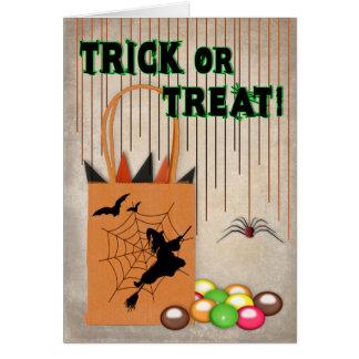 TRICK OR TREAT Halloween Greeting Greeting Card