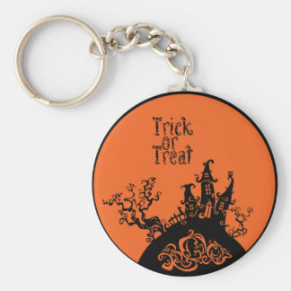 Trick or Treat Halloween House Basic Round Button Key Ring