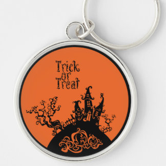 Trick or Treat Halloween House Silver-Colored Round Key Ring