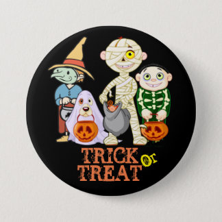 Trick or Treat Halloween Large, 3 Inch Button