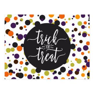 Trick or Treat Halloween Modern Invitation Postcard