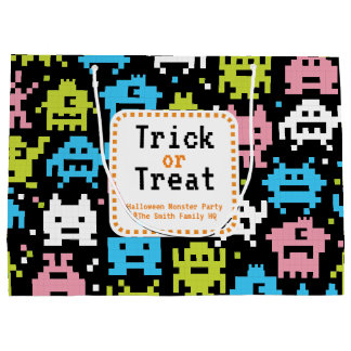 Trick or Treat. Halloween Monster Party. Large Gift Bag