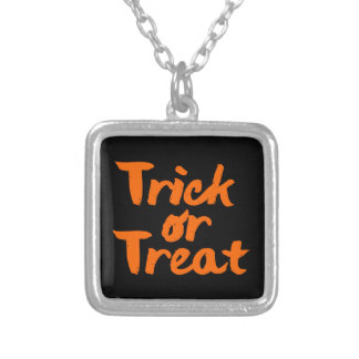 Trick or Treat Halloween Orange Brush Stroke Silver Plated Necklace