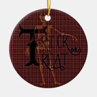Trick or Treat Halloween Skeleton Grim Collage Ceramic Ornament