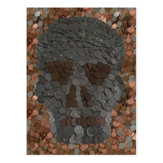 Trick or Treat Halloween Skull Money Picture Postcard
