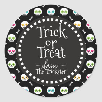 Trick Or Treat. Halloween Sugar Skulls. Classic Round Sticker